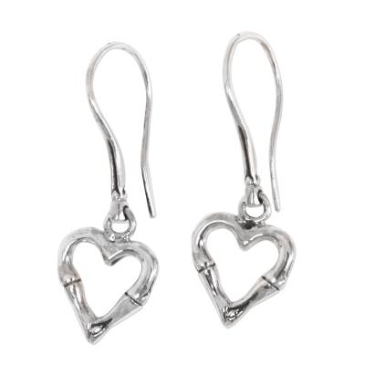 Sterling silver dangle earrings, 'Bamboo Heart' - Balinese Bamboo Motif Sterling Silver Heart Earrings