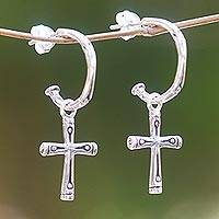 Sterling silver dangle earrings, 'Bamboo Cross' - Sterling Silver Balinese Bamboo Motif Cross Earrings