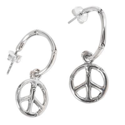 Sterling silver dangle earrings, 'Bamboo Peace' - Sterling Silver Balinese Bamboo Motif Peace Symbol Earrings