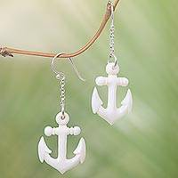 Bone dangle earrings, 'Anchored' - Hand Carved Bone Anchor Earrings Bali Artisan Jewelry