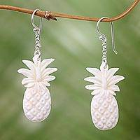Bone dangle earrings, 'Pineappple Treats' - Pineapple Earrings Artisan Crafted Bone Jewelry from Bali