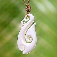 Bone pendant necklace, 'Magnificent Wave' - White Wave Bone Pendant Necklace on Brown Cotton Cord