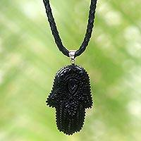 Leather and horn pendant necklace, 'Hamsa Art' - Artistic Hamsa Pendant Necklace in Horn and Black Leather