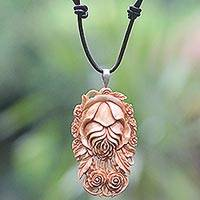 Bone and leather pendant necklace, 'Antique Rose' - Antique Style Balinese Rose Necklace of Hand Carved Bone