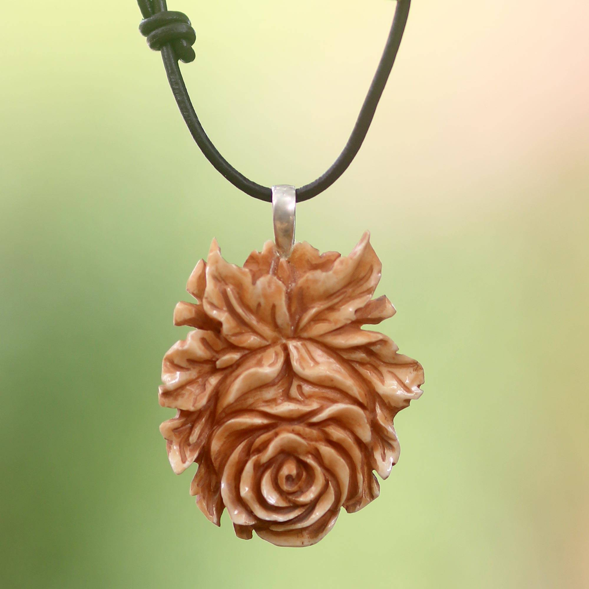 Unicef Uk Market Handmade Floral Cow Bone Pendant On Leather Cord Necklace Brown Rose