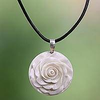 Cow bone and leather pendant necklace, 'Glorious Rose'