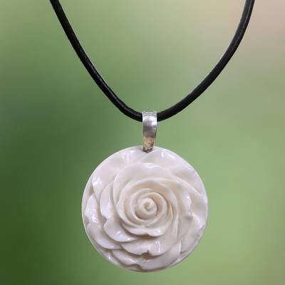 Cow bone and leather pendant necklace, 'Glorious Rose' - Artisan Crafted White Rose Pendant on Leather Cord Necklace