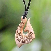 Bone pendant necklace, 'Traditional Fishing Hook' - Hand Made Cow Bone Pendant Necklace from Indonesia
