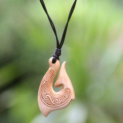 Bone pendant necklace, 'Traditional Fishing Hook' - Hand Made Cow Bone Pendant Necklace from Indonesia