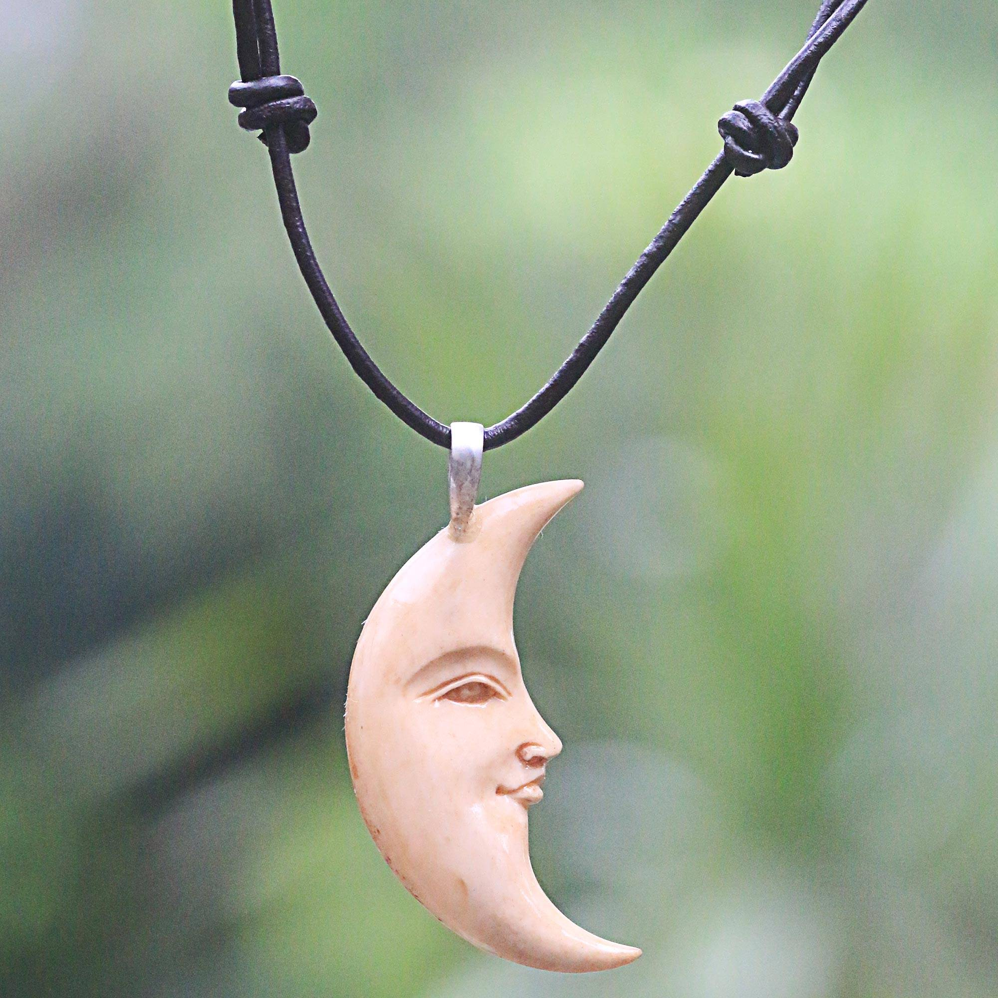 Hand Carved Balinese Moon Necklace In Leather And Bone Serene Crescent Moon Novica