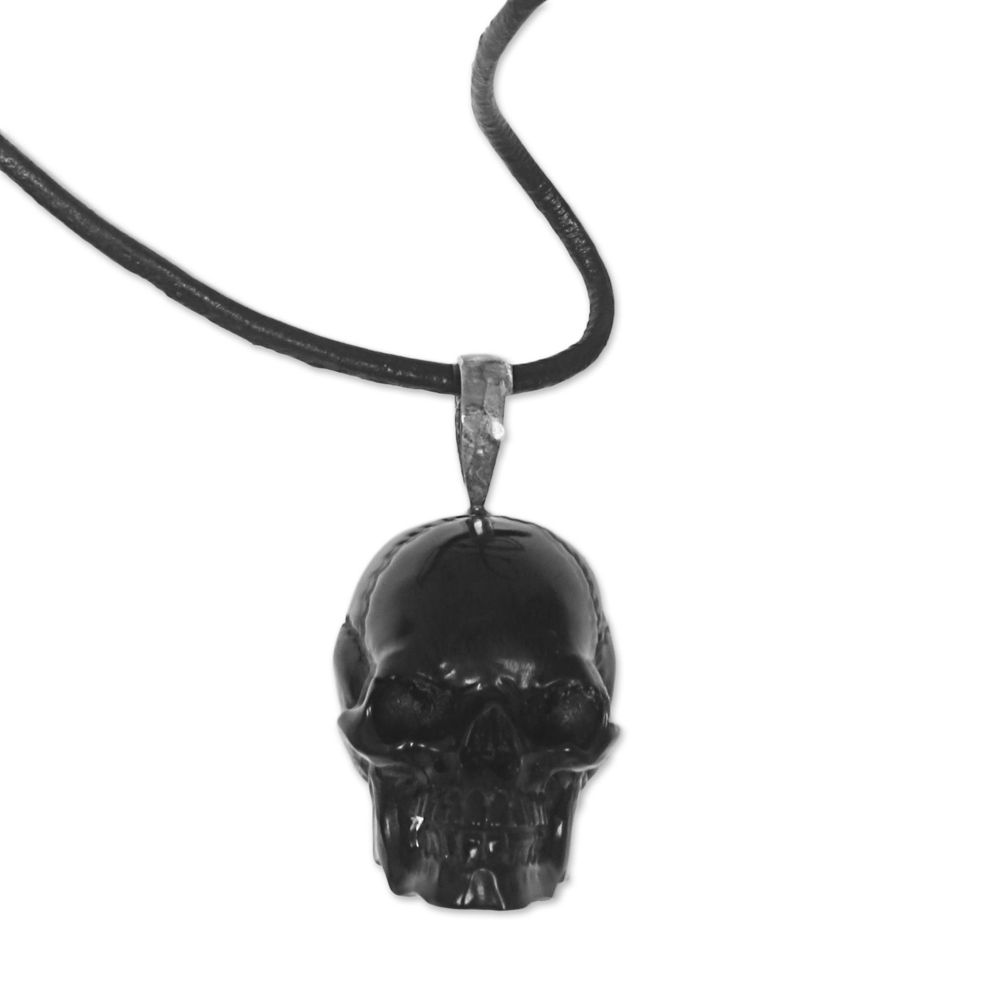Kiva Store Carved Bone Skull Pendant On Cord Handmade In Indonesia Black Skull