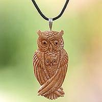 Bone and leather pendant necklace, 'Brown Owl Family'