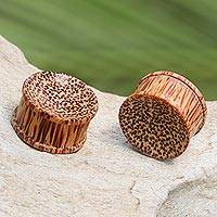Wood ear plugs, 'Savannah' - Natural Coconut Wood Body Jewelry Ear Plugs