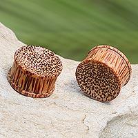 Wood ear plugs, 'Savannah' - Natural Coconut Wood Body Jewelry Ear Plugs