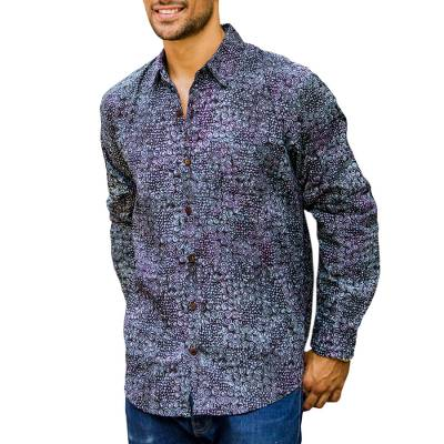 Men's long sleeve shirt, 'Uluwatu Nautilus' - Men's 100% Cotton Long Sleeve Shirt with Hand Stamped Motif