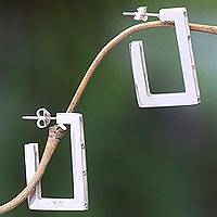 Sterling silver half hoop earrings, 'Rectangular' - Contemporary Balinese Earrings Handcrafted in 925 Silver