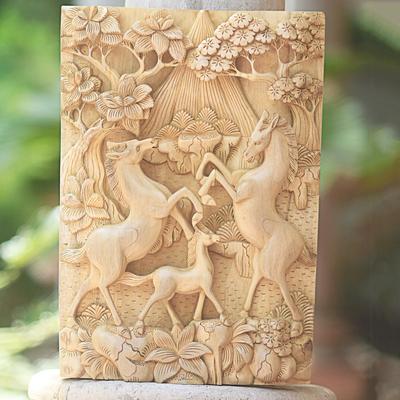 Running horses mustangs wood carving baso relief ebay