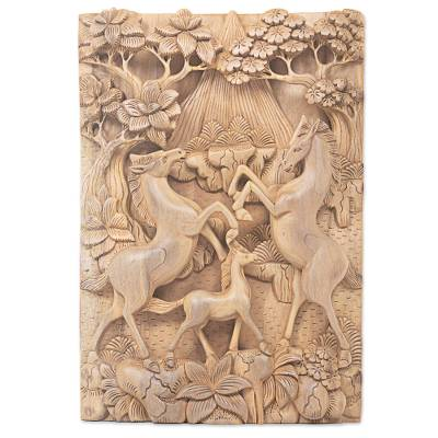 Wood relief panel, 'Playful Family' - Hand Carved Wood Relief Panel of Horse Family from Bali