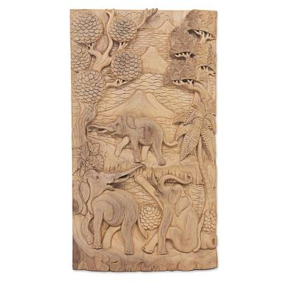 Artisan Crafted Wood Relief Panel with Elephant Motif