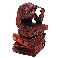 Wood sculpture, 'Scholarly Monkey' - Realistic Hand Carved Wood Monkey Sculpture from Bali