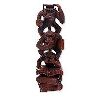 Wood sculpture, 'Monkeys in the Library' - Balinese Brown Suar Wood Hand Carved Monkey Sculpture
