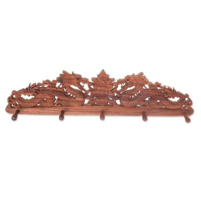 Wood coat rack, 'Dragon Guardian' - Hand-Crafted Wood Coat Rack with Dragons