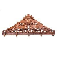 Wood coat rack, 'Lotus Pond' - Hand-Carved Balinese Suar Wood Coat Rack with Lotus Design