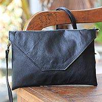 Leather shoulder bag, 'Fabulous Chic' - 2-in-1 Shoulder Bag and Clutch in Black Leather from Bali
