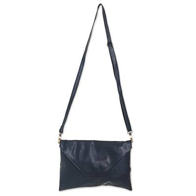 2-in-1 Shoulder Bag and Clutch in Black Leather from Bali