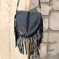 Leather shoulder bag, 'Glory Night' - Bohemian Style Black Leather Shoulder Bag with Long Fringe