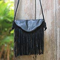 Leather shoulder bag, 'Night Rain' - Boho Chic Black Shoulder Bag with Long Fringe from Bali