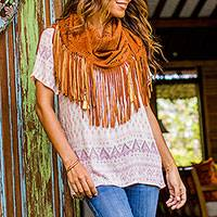 Leather shawl, 'Seruni Garden' - Balinese Reddish Brown Handcrafted Leather Shawl Wrap