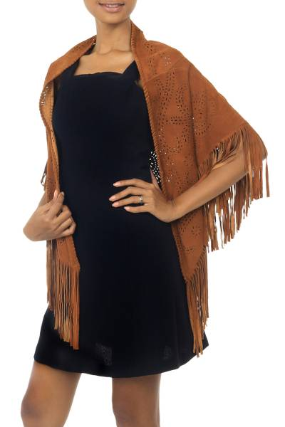 Leather shawl, 'Seruni Garden' - Balinese Reddish Brown Handcrafted Leather Shawl Wrap