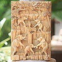 Wood relief panel, 'Elephant Paradise'