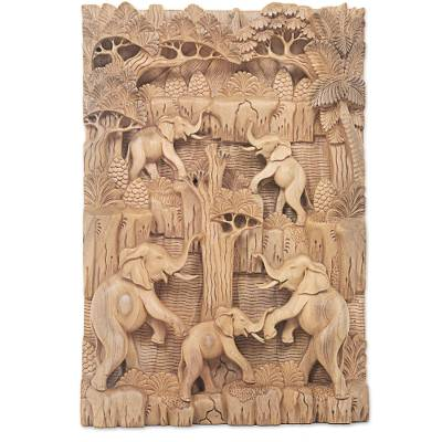 Wood relief panel, 'Elephant Paradise' - Hand Carved Wood Relief Wall Panel with Elephant Motif