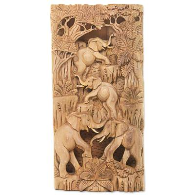 Wood relief wall panel, 'Caring Elephants' - Hand Carved Wood Wall Relief Panel with Elephant Motif