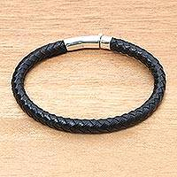 Men's sterling silver accented leather bracelet, 'Brick Road in Black'