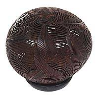 Coconut shell sculpture, 'Lush Leaves' - Bali Artisan Coconut Shell Albesia Wood Leaves Sculpture