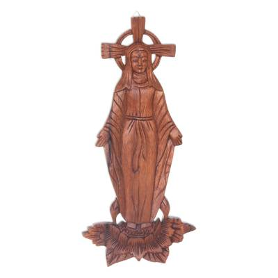 Wood wall panel, 'Mary Full of Grace' - Hand-Carved Wood Wall Panel of Virgin Mary on Lotus Flower