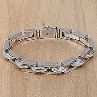 Men's sterling silver link bracelet, 'Formation'