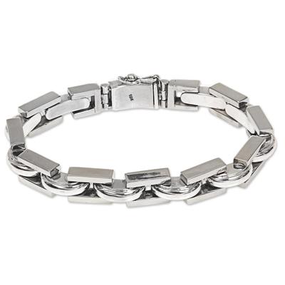 Men's sterling silver link bracelet, 'Formation' - Artisan Crafted Sterling Silver Men's Link Bracelet