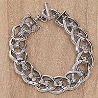Men's sterling silver link bracelet, 'Brotherhood'