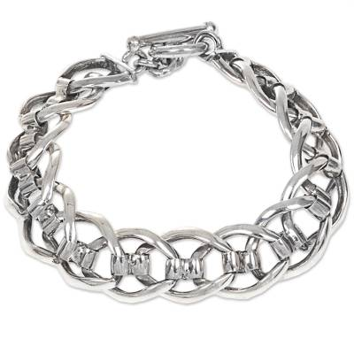 Men's sterling silver link bracelet, 'Brotherhood' - Hand Crafted Men's Sterling Silver Bracelet from Bali