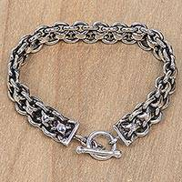 Men's sterling silver link bracelet, 'Ancient History' - Hand Crafted Sterling Silver Men's Bracelet from Bali