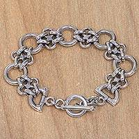 Sterling silver link bracelet, 'Hold Me Tight'