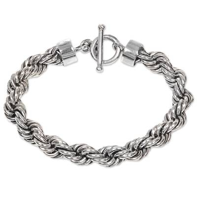 Artisan Crafted Sterling Silver Bracelet with Rope Motif