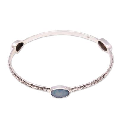 Hand Made Opal Sterling Silver Bangle Bracelet Indonesia