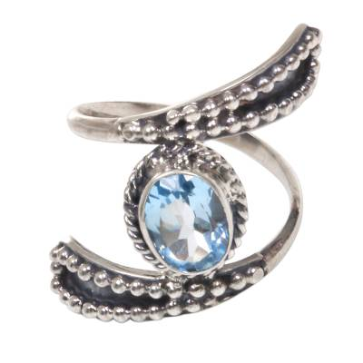 Hand Made Blue Topaz Cocktail Ring from Indonesia