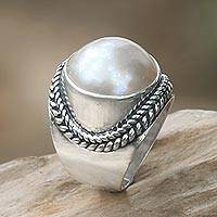 Cultured pearl cocktail ring, 'Luminous Embrace' - Balinese Cultured Pearl Sterling Silver Women's Ring