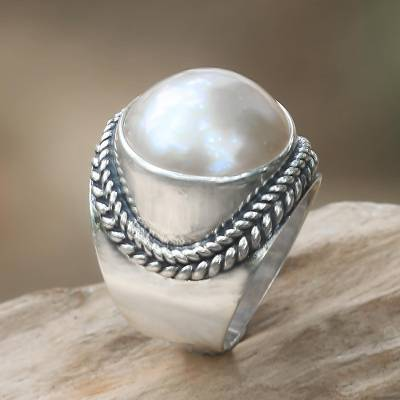 Balinese Cultured Pearl Sterling Silver Women's Ring